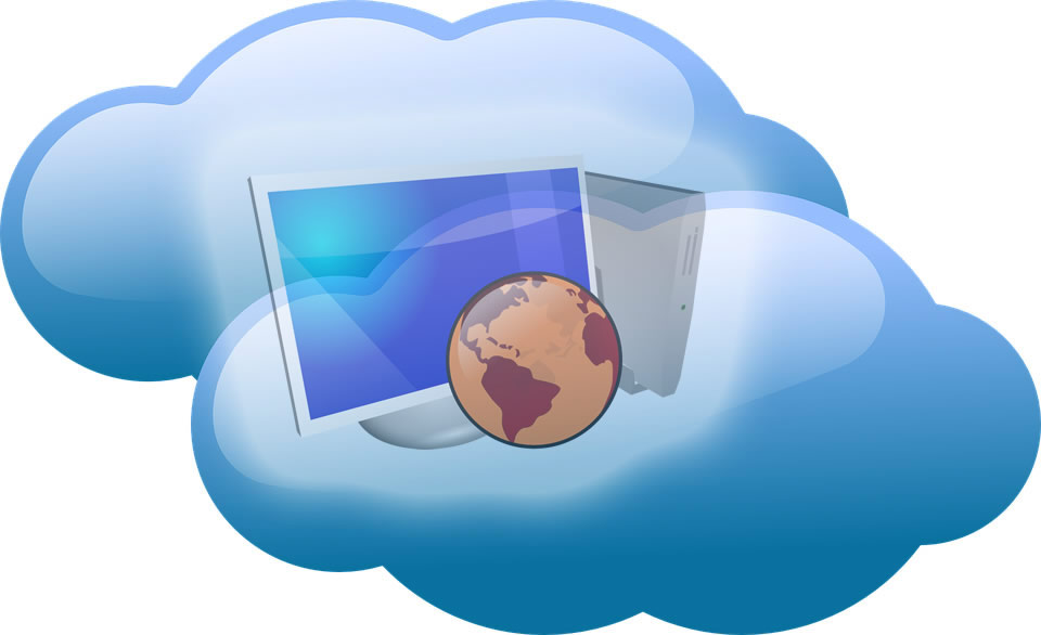 Image of a computer and a globe residing in a cloud