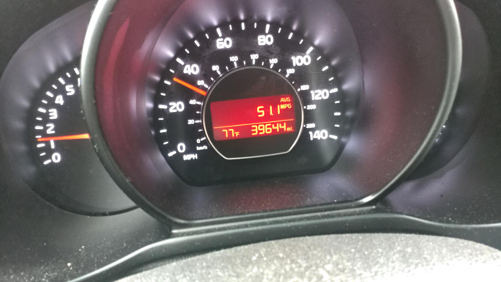 Average MPG 51.1. Odometer 39644 miles.