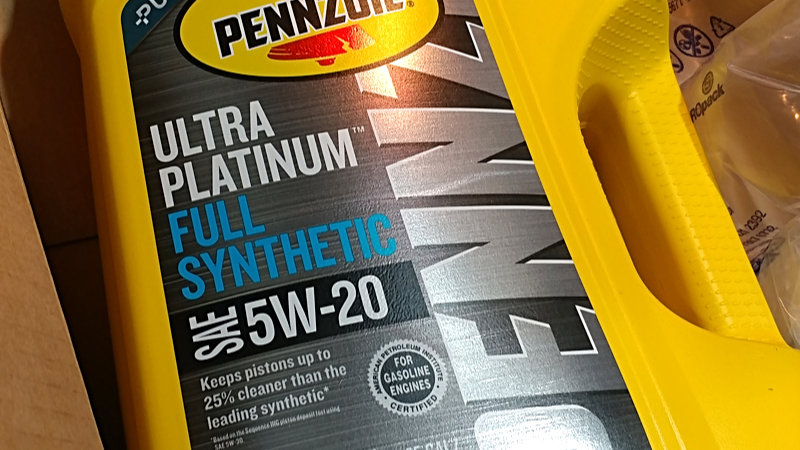 Pennzoil Ultra Platinum oil in 5-quart jug