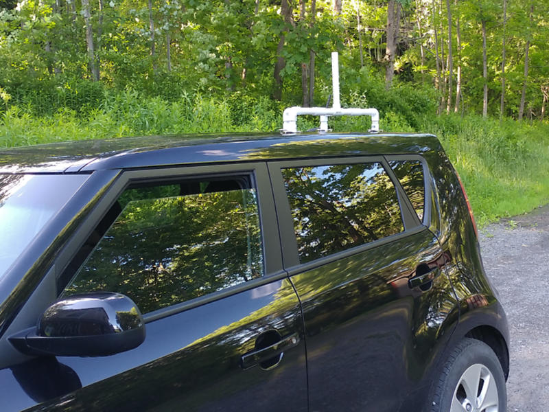 PVC camera mount on a car roof